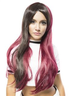 Long Wavy Synthetic Black Mixed Red Party Costume Wig$59.99