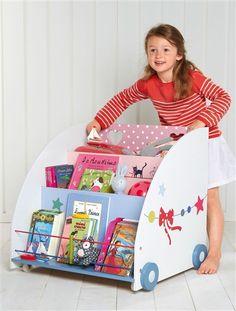 Etagère à livres sur roulettes BLANC IMPRIME - vertbaudet enfant