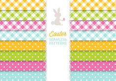 Easter Seamless Patterns Icon Set