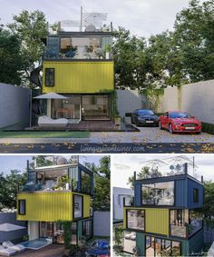 3-storey Cool Looking Container House Concept Container Architecture, Architecture Plan, Mansion Plans, Steel Frame House, Shipping Container House Plans, Model House Plan, Container House Design, Dream Home Design, Luxurious Bedrooms