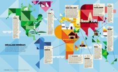 Patrick Hruby world map for a travel feature in Le Magazine Du Monde