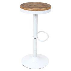 Dakota Adjustable Height White Metal Swivel Bar Stool with Wood Seat, BS-TW-DAK-W by LumiSource   BizChair.com