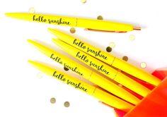 Hello Sunshine Pen Set, Black Ink Pen, Desk Accessories, Planner Pen, Teacher Gifts, Stationery, Stocking Stuffer, Cute Pen, TED073-PEN