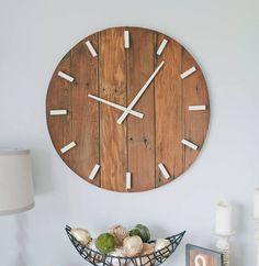 Rustic wall clock. Oversized wall clock. by WoodLaneCreationsLLC