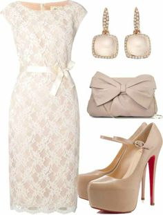 Christian Louboutin Kidskin Leather Nude Pump High Platform Red Sole With Strap and lace dress.It's my love.
