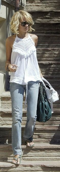 Jeans, top, and flip flops! Reminds me of easy California living!!  Just need to modify the top to be modest! ;)