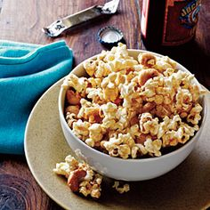 Spicy Maple-Cashew Popcorn   MyRecipes.com....for me...I would air pop the corn in a brown bag in the microwave...and use almonds...a little healthier version...