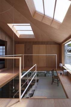 Image 21 of 32 from gallery of House in Kawanishi / Tato Architects. Photograph by Shinkenchiku Sha Timber Architecture, Japan Architecture, Architecture Design, Timber Ceiling, Timber Structure, Architect House, Wood Interiors, Minimalist Home, House Rooms