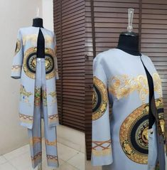 2019 Autumn African Print Elastic Bazin Baggy Pant Rock Style Dashiki Sleeve Famous Suit for Women Coat and Legging Set African Wedding Attire, African Attire, African Dresses For Women, African Fashion Dresses, Baggy Pants, Trousers, Trouser Suits, Suits For Women, Clothes For Women