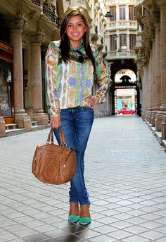 Verdes y azules♥  , Zara en Camisas / Blusas, Zara en Sandalias de gladiador, Purificación Garcia en Bolsos
