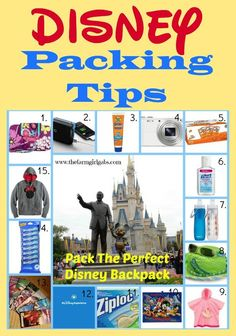 Walt Disney World Packing Tips from www.thefarmgirlgabs.com. Learn what to pack in your in-park backpack.