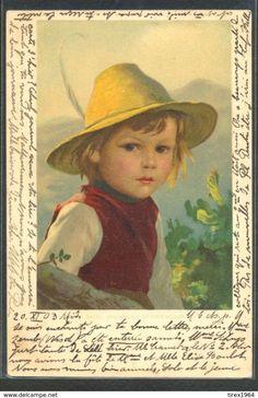 KH048 MIZI WUNSCH Petit Garçon CHAPEAU Cute BOY HAT Portrait Fine LITHO 1903 - Illustrateurs & Photographes