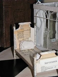 There is no tutorial for this miniature bed, just a picture but you get the idea for doll house- resize for larger dolls!.