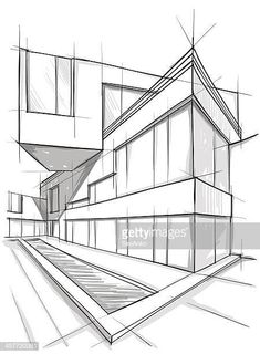 Architecture Drawing Discover vector illustration of the architectural design. Sketchbook Architecture, Architecture Concept Drawings, Landscape Architecture Design, House Architecture, House Design Drawing, Geometric Shapes Art, Art Du Croquis, Building Drawing, Building Sketch