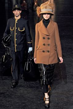 Fall 2012 RTW, Inspired by the golden age of railroading, the show took place in what looked like an old-fashioned train car. Look 3