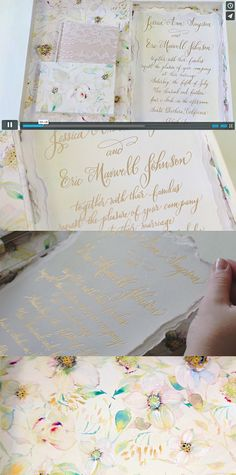 CLICK to watch! - Hand Painted Floral Wedding Invitations-Momental Designs    #jessicasimpson #weddinginvitations #watercolorflowers #watercolorwedding