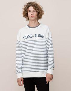 Pull&Bear - man - sweatshirts - stripes and message print sweatshirt - off white - 09592537-I2015