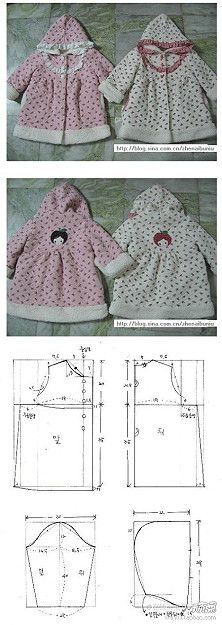 Hooded dress tutorial and pattern Sewing Dolls, Sewing Clothes, Diy Clothes, Sewing For Kids, Baby Sewing, Clothing Patterns, Dress Patterns, Kids Patterns, American Girl Clothes