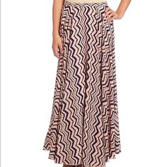 NWT Freeway Chevron Maxi Skirt Full maxi skirt, pink and navy. Fully libed with back zip. Freeway Skirts Maxi