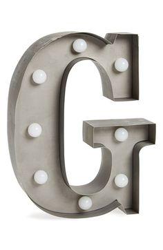 Creative Co-Op Metal Letter LED Lamp - Grey