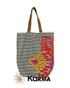 handmade khaymia (hand-sewn) tote bag with Islamic pattern on stripes.  made by Karma from Egypt