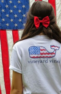 4th of July Vineyard Vines shirt + red bow
