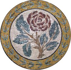 This red rose mosaic is composed of all natural stones and hand-cut tiles and can be used as a unique decoration idea for a home decor. Customization available for size or color to give you the perfect fit you need.