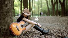 girl photography with guitar