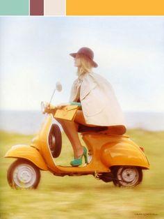 Model on Orange Vespa, by Laura Sciacovelli