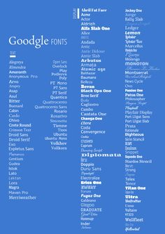 Good Google Fonts - Text & Display