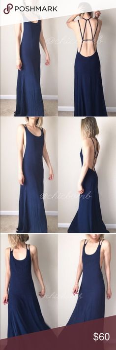 """Very SEXY open back long dress Double delicate spaghetti strip dress with detail bare back. Full length with full lining. Made of 100% rayon fabric. Size s: length : 62"""" B;26"""" w;30"""". Maxi with adjustable strap . Length can be shorten to 58"""" on S. Ultra sexy Dresses Backless"""