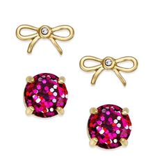 """Kate Spade Pink Glitter & Bow Earrings Set Kate Spade pink glitter and bow stud earrings. Set includes gold Crystal bows and round pink stud glitter earrings. 12 karat gold plated metal. 14 karat gold filled posts. Approx. 1/2"""" diameter. Price firm. kate spade Jewelry Earrings"""