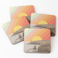 """Ocean Sunset Vintage Collage"" Coasters (Set of 4) by ind3finite 