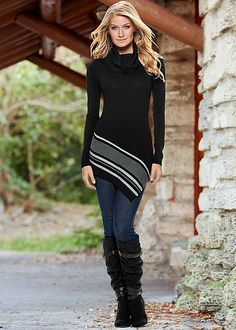 SLIMMING STRETCH JEGGINGS, ASYMMETRICAL HEM SWEATER, SLOUCHY LAYERED STRAP BOOT