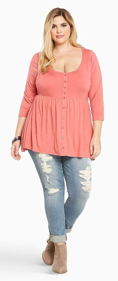 Plus Size Button Front Babydoll Top