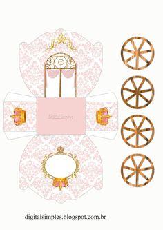 Corona en Dorado y Rosa: Caja con forma de Carruaje para Imprimir Gratis.: