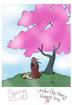 Spring under the Cherry Blossom tree ||| This is for a contest! (Btw it's meant to look like a polaroid photo XD)