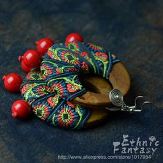 Original design Chinese Ethnic style Wooden parts Stone Fabric art  Embroidery Earrings Freeshipping Gift for women Temperament