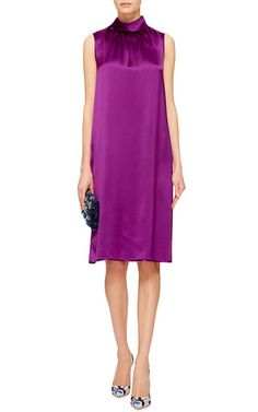 Purple Sleeveless Roll Collar Shift Dress by Oscar de la Renta Now Available on Moda Operandi