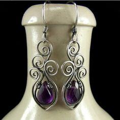 srebrne kolczyki 'Bukiet fiołków'   #silver #earrings