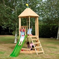 TP Castlewood Tower with Wavy Slide from our children's Wooden Climbing Frames | Climbing Frames range