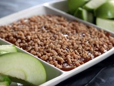 Caramel Apple Dip- Sweetened cream cheese layered with caramel and toffee bits.