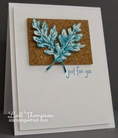 Stamping with Loll: Watercolored Leaves, misting an inked stamp on watercolor paper