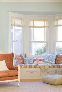 Engaging Pastel Blue Wall Paint Color For Living Room Idea With Pleasant Bench Plus Cushion Also Perfect Bay Window Design Ideas Living Room Colors, Living Room Designs, Living Room Decor, Living Rooms, Bay Window Design, Bay Window Treatments, Window Coverings, Bay Window Living Room, Home Decor Bedroom