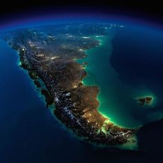 Terra vista do espaço                            Argentina e Chile