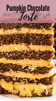 If you're looking for an impressive Thanksgiving dessert, try this Pumpkin Chocolate Torte. Chocolate cake layered with cream cheese pumpkin frosting. Chocolate Torte Cake, Chocolate Pumpkin Cake, The Best Pumpkin Cake Recipe, Pumpkin Cake Recipes, Pumpkin Sheet Cake, Pumpkin Bundt Cake, Old Fashioned Cake Recipe, Thanksgiving Cakes, Torte Recipe