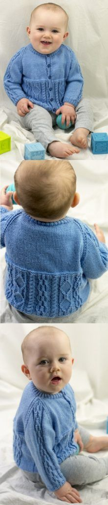 Baby Knitting Patterns Cardigan Free Knitting Pattern for a Baby Cardigan with Cable Features Baby Knitting Patterns, Baby Cardigan Knitting Pattern Free, Baby Sweater Patterns, Knitting For Kids, Easy Knitting, Baby Patterns, Knitted Baby Clothes, Baby Knits, Crochet Bebe