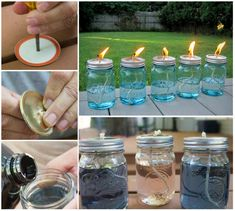 These DIY Citronella Candles are perfect for your outdoor entertaining area and they're so easy to make! - here is where you can find that Perfect Gift for Friends and Family Members Citronella Candles, Mason Jar Candles, Diy Candles, Citronella Oil, Pot Mason, Mason Jar Diy, Bug Repellent Candles, Wine Bottle Tiki Torch, Outdoor Parties