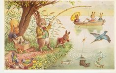 Surprise Catch Pk 313,  Racey Helps, vintage postcard, Fishing Fun, dressed bunny rabbits by sharonfostervintage on Etsy