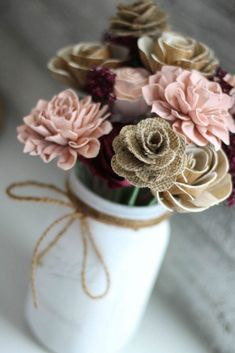 Cameo and Burlap Wooden Flower Arrangement - Farmhouse Flourish Collection - Rustic Decor - Made to Order - Forever Flowers - Birthday Gift Sola Wood Flowers, Wooden Flowers, Paper Flowers Diy, Faux Flowers, Flower Crafts, Fabric Flowers, Wooden Flower Bouquet, Flower Bouquet Wedding, Forever Flowers